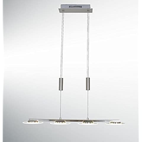 Lampadario LED Frederic nichel satin vetro, 4x5