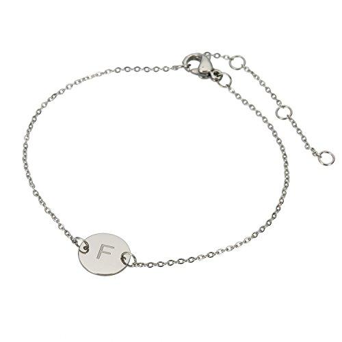 Huan Xun en acier inoxydable gravé Bracelet Initiale réglable, 20cm F