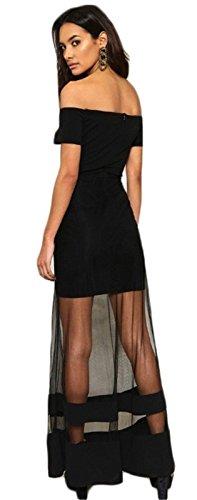 Sexy Manches Courtes Off The Shoulder Épaules Nues Transparente Empiècements en Maille Long Longue Maxi Bodycon Fourreau Moulante Ajustée Colonne Dress Robe Noir Noir