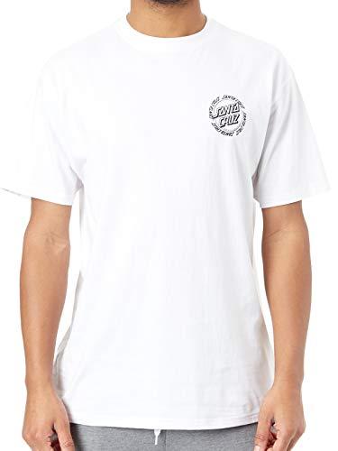 Santa Cruz Weiß Ringed Dot T-Shirt (Large, Weiß) - Dot Herren T-shirt