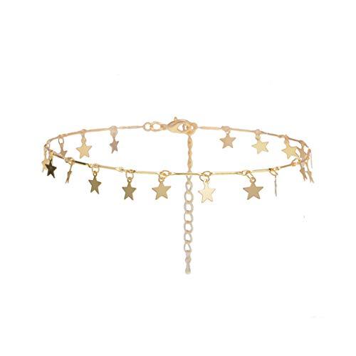 Gaddrt Halskette Lucky Star Choker Necklace Pendant Disc Chain Statement Necklace Women Girls Schmuck