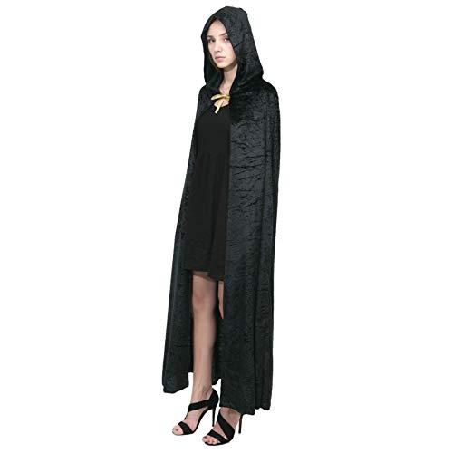 Spooktacular Umhang mit Kapuze Samt Mantel Halloween Damen Vampir Hexe Cape Kostüm (Vampir Kostüm Für Paare)