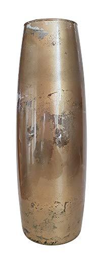 Oberstdorfer Glashütte Vase Gold antik Gold Glasvase schmal Shabby Gold für langstielige Blumen...