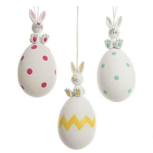 Decorazione pasqua 1 pz ass. uovo uova con coniglietto da appendere 4,8x4,8x11 cm ca. decorazioni addobbi pasqua