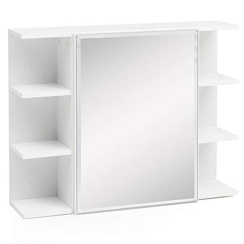 FineBuy Hängeschrank FB51815 Weiß 80x64,5x20cm Spanplatte Spiegelschrank Modern | Design Badregal...