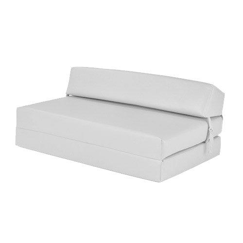 Ready Steady Bed Weiß Faux Leder Doppelt Gefaltete Out Schaumstoff Z Bett Gäste Matratze Sofa Bett (Futon Sofa Und Stühlen)