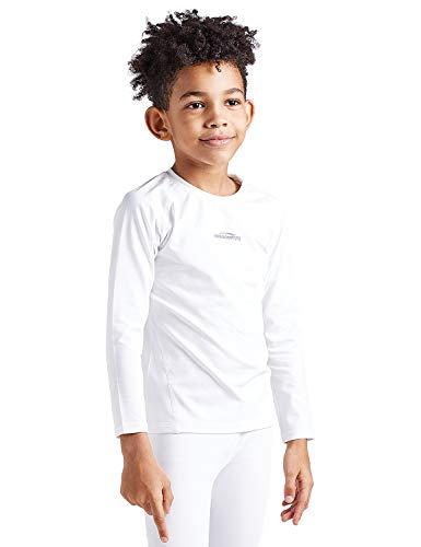 COOLOMG Kinder Thermowäsche Set Funktionswäsche Base Layer Radsport Joggen Fitness Outdoor Innenfleece Winter (XS, weiß(Shirt))