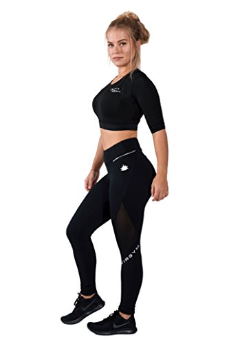 Virgym Silver Zipper Tights | Sport Leggings Damen | Figurformende Leggins für Sport Fitness Gym Training & Freizeit | Sporthose - Workout Trainingshose (small)