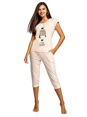 oodji Ultra Damen Schlafanzug mit Capri-Hose und T-Shirt mit Aufdruck, Rosa, DE 34 / EU 36 / XS (Lounge-hose Capri)