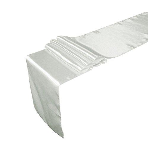 Tiaobug Satin Tischläufer Tischwäsche Tischband Tischdecke Hochzeit Deko 30x275cm/12x108inch (Silber) (Tischwäsche Silber)