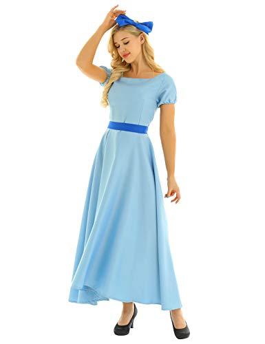 CHICTRY Vestido Princesa Wendy Mujer Vestido Largo Azul con Pinza Bowknot Cosplay Pincesa Peter Pans Disfraz Princesa Adulto Fiesta Halloween Azul M