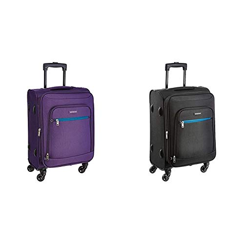 Aristocrat Nile Polyester 66 cms Purple Suitcase + Nile Polyester 54 cms Black Soft Sided Carry-On (STNILW66PPL + STNILW54BLK)