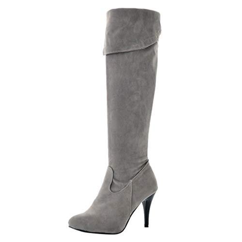 Stiefel Damen Stiletto Reißverschluss Over-Knee Hohe Stiefel Scrub Einfarbiges Revers Runder Zeh Schuhe Frühjahr Herbst Damenschuhe (35.5 EU, Grau)