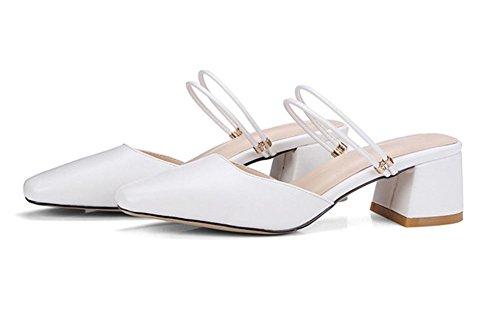 Quadratischer Kopf flacher Mund Sommer Sandalen mit dicken Sandalen in Baotou Sandalen und Pantoffeln Frauen White