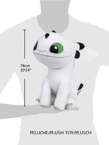 """HTTYD Dragons, How to Tran Your Dragon 2 Peluche bébé Dragon Blanc aux Yeux Verts 10""""/26cm Qualité Super Soft (760017685)"""