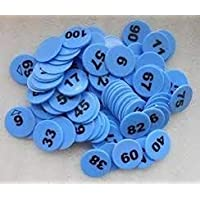 ARFA Prime Blue Plastic Token/Coins with Numeric Numbers 1 to 100 -Pack of 100