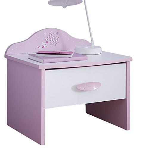 Nachtkommode AVA rosa/weiß Mädchen Kinderzimmer Jugendzimmer Nachttisch Nachtkonsole Nachtschrank Nachtkästchen Nako