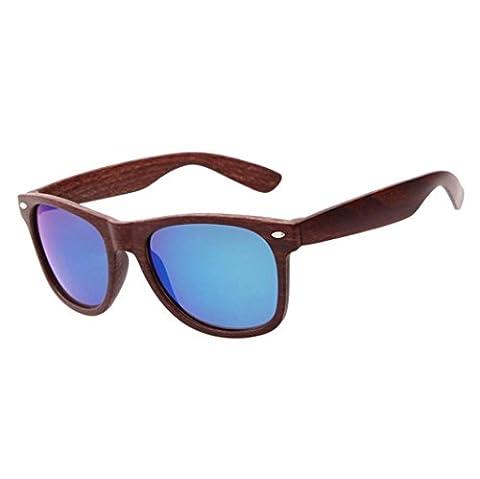 Lunettes de soleil femme homme - Kolylong Imitation Grain de bois Carré Cru Rond Miroir Des lunettes de soleil (C5)