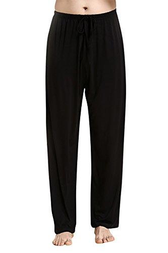 Dolamen Hombre Pantalones de pijama Fibra de carbón de bambú, Parejas Pantalones Boxeador largo Casual Ropa de dormir Cintura elástica bolsillos Tiempo libre Yoga Deportes (Large, Negro)