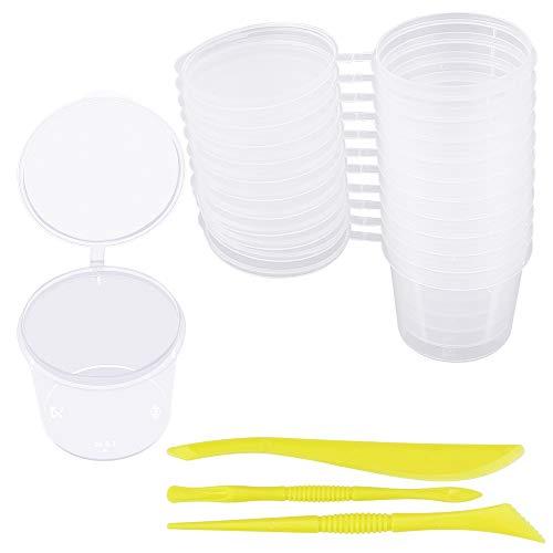 LYTIVAGEN 24 Pezzi Contenitori per Slime Brattoli Plastica Trasparenti con Coperchi e 2 Set Strumenti per Slime Gioielli liquido (40ML)