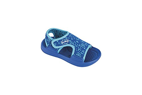 Fashy Kleinkinder-Sandale Badeschuhe Strandschuhe mit Klettverschluß in 2 Farben erhältlich - (Made in Germany) Blau/Türkis 23/24 EU