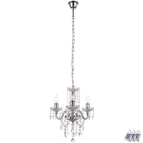 Burg 3 Licht Kronleuchter (Kristall Kronleuchter Fernbedienung Decken Hänge Lampe dimmbar im Set inkl. RGB LED Leuchtmittel)