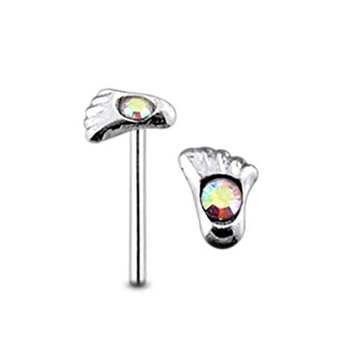 Fuß Regenbogenstein Crystal Top 22 925 Sterling Silber gerade Nase Stud Piercing messen