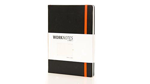 WORKNOTES - Das A4 Notizbuch liniert für Kreative und Macher, 192 perforierte Seiten, 100g/qm, Hardcover, schwarz