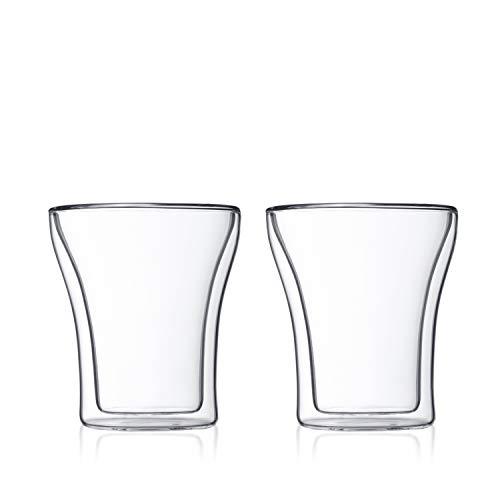 Bodum ASSAM 2-teiliges Kaffeeglas-Set (Doppelwandig, Mundgeblasen, Spülmaschinengeeignet, 0,2 liters) transparent