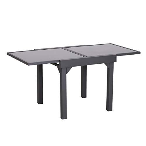 Outsunny Tavolino da Giardino Allungabile Estensibile con Piano in Vetro Temperato Metallo 160 x 80 x 75 cm Nero