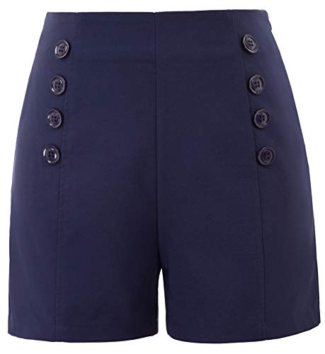 Belle Poque 50er Jahre Vintage Sommershorts elegant Mini Navyblau Shorts hot Pants Shorts 2XL BP849-2 - Retro Mini Shorts