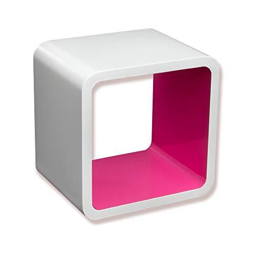 Homestyle4u 818, Design Wandregal Weiss Pink, Regal Cube Retro Design