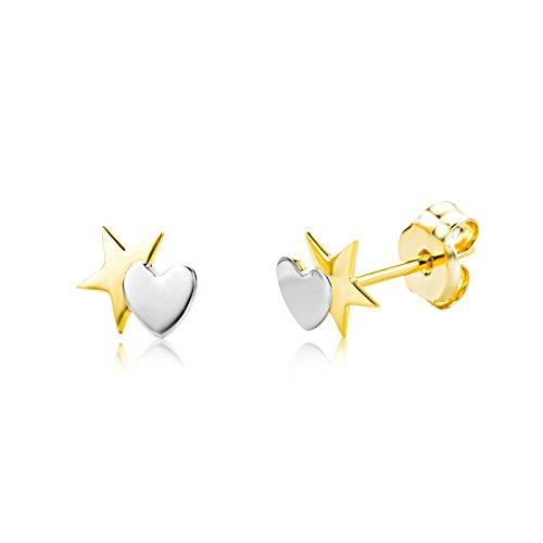 Miore Orecchino per Bambina due colori Oro Giallo e Oro Bianco 9 Kt / 375  Piccoli a  Lobo con Cuore e Stella