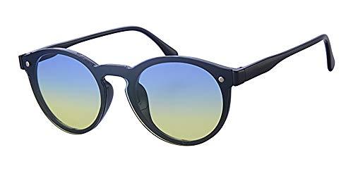 Eyewear World Runde Sonnenbrille, Gradient flach Reflektierende blau zu grün Zwei Ton Objektiv, frei gelb Halskordel