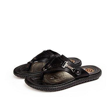 Slippers & amp da uomo;Casual tallone piano sandali marroni nera opaca PU comfort Primavera Estate sandali US9.5 / EU42 / UK8.5 / CN43