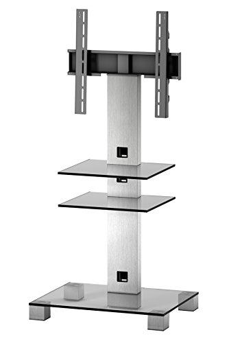 Sonorous PL 2525-C-INX  Sonorous PL 2525-C-INX Ständer für 50 Zoll Fernseher, Aluminium Inox Klarglas/Silber (Tv Para Muebles)