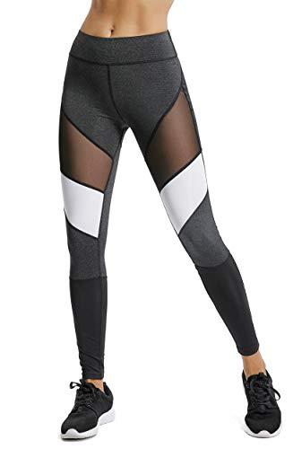 FITTOO Legging de Sport Femme Pantalon Yoga Collant Tulle Sexy Taille Haute Amincissant pour Fitness Course Gym Jogging