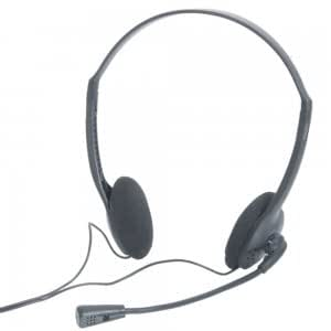 3.5mm Stereo Headset Headphone with PC Microphone for MSN Skype Talk Black