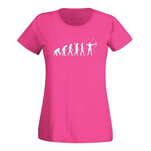 T-Shirt Evolution Bogenschütze Kyudo FITA Robin Hood 15 Farben Damen XS - 3XL IFAA DBSV Sport 3D-Schießen Langbogen Zielscheibe Pfeil Jagd, Größe:XS, Farbe:pink/Fuchsia - Logo Weiss