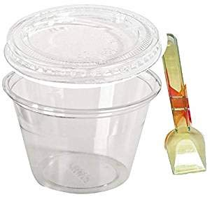 (50x 114ML PET Dessert Cups, lids and Spoons)