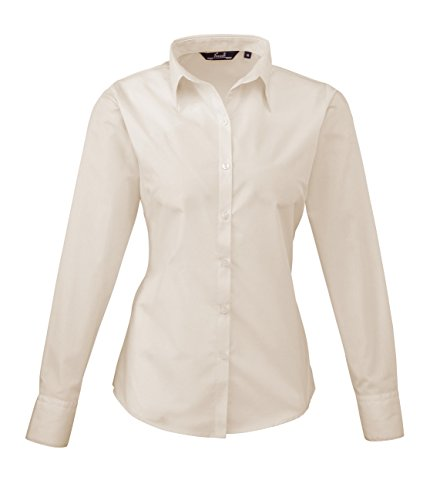 PW300 Ladies Poplin Long Sleeve Shirt (Damenbluse/Langarm) Natural