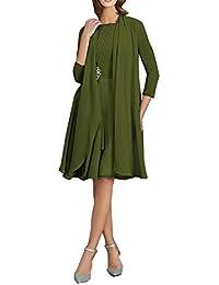 Brautmutterkleider Knielang mit Jacke A-Linie Chiffon Elegante  Cocktailkleider Abendkleider Ballkleider Hochzeit Kleider 6212a9c39b