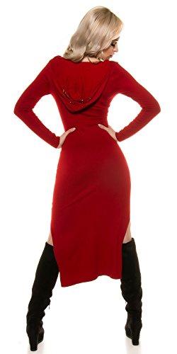 KouCla Feinstrickkleid mit Schnürung und Hoodie - Maxikleid Langarm Longshirt Kapuze Gr. 34-38 Rot