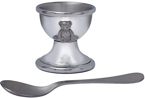 Child's Spun Pewter Egg Cup with Teddy and Stainless Steel Spoon