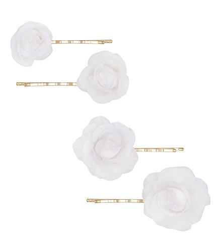 """SIX """"Basic"""" 4er Set goldene Haarklammern, Haarschmuck mit weißen Rosen-Blüten aus Stoff (329-599)"""