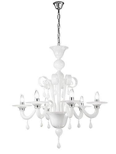 Rossini illuminazione a.10470-40-led lampadario in vetro murano e14, 42 w, bianco