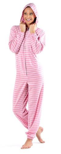 Carte d'anniversaire ros'et blanche à rayures Lounge Pyjama Combinaison Pyjama polaire usure Rose - Rose