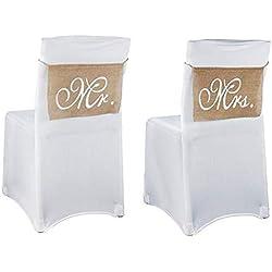 Suneast 1paire de nœuds en toile de jute Mr & Mrs Chaise rustique Bannière Band Ensemble de vintage Chaise Sign Guirlande pour décoration de fête de mariage