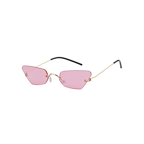 Vikimen Sportbrillen, Angeln Golfbrille,Vintage Cat Eye Sunglasses Women Cat Eye Designer Ladies Rimless Frame Black Red Sun Glasses Brand Retro Skinny Eyewear C4 pink