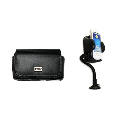 EMPIRE Schwarz Leather Leder Case Tasche Hülle Pouch with Gürtelclip and Gürtelschlaufen + 360 Degree Rotatable Auto Windschutzscheibe Berg with Air Vent Attachment for Samsung Solstice II A817 2 A817 Case Cover